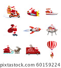 Set of Santa Claus of different types of transport vehicles truck, moped, boat, plane, rocket, drone, UFO, sled, balloon. Vector, illustration, isolated cartoon style 60159224