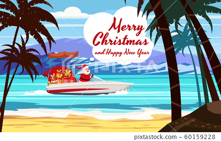 Merry Christmas Santa Claus on speed boat on ocean sea tropical island palms mountains seaside. Vector illustration isolated cartoon style 60159228