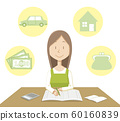 Illustration material | Household account book | Woman | Vector 60160839