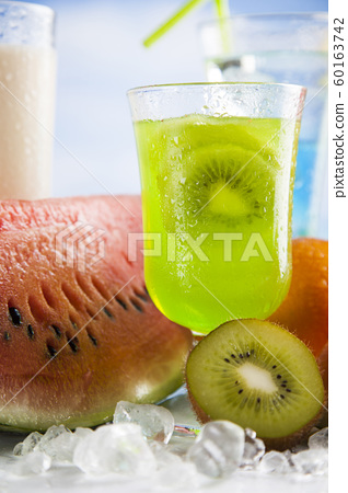 Variety of cold drinks, Summer background 60163742