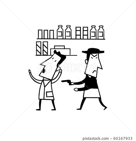 robber pistol cartoon. outlined cartoon handrawn 60167933