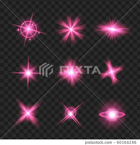 purple shine stars with glitters, sparkles icons 60168286