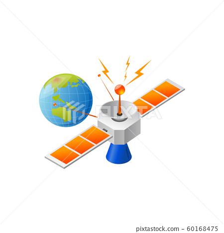 satellite and earth posotioning. Vector 60168475