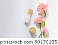 Top view of white cosmetic bottle containers 60170135
