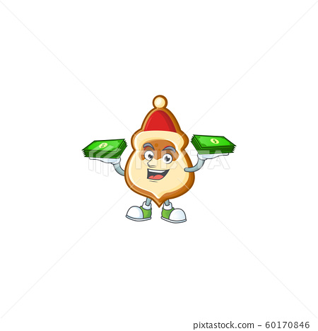 Confident smiley christmas hat cookies character with money on hand 60170846