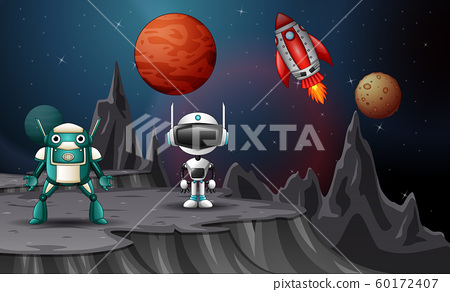Space shuttles landed with robot on planet 60172407