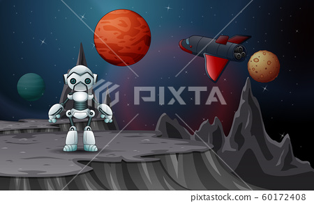 A robot and spaceship in the outer space 60172408