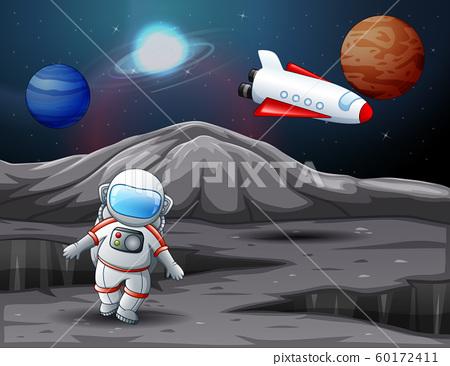 Astronaut landed on planet illustration 60172411