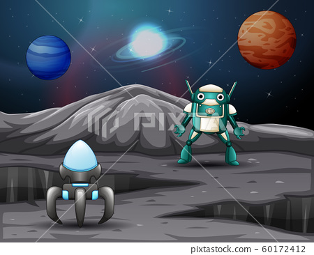 A spaceship and robot on space with planets background 60172412