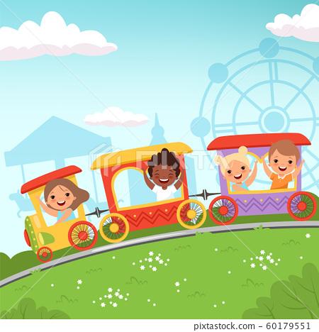 Roller coaster kids. Attraction children riding in amusement park vector cartoon action background 60179551