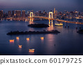 Tokyo skyline with Tokyo Tower and Rainbow Bridge at night in Japan 60179725