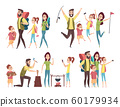 Family traveling. Happy couples with kids hiking mountain exploring camping adventure vector characters 60179934