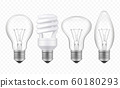 Lighting bulb. Realistic glass transparent lamp of different styles business creative ideas symbols vector collection 60180293