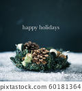christmas wreath and text happy holidays 60181364