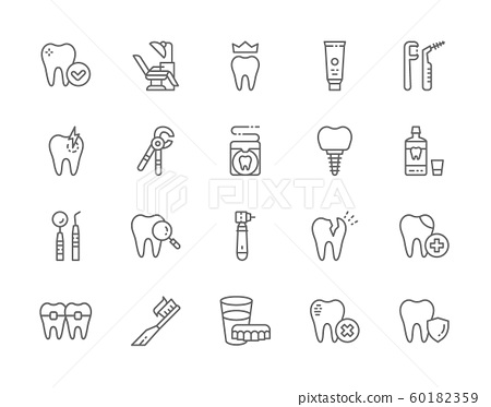 Set of Dentistry Line Icons. Toothpaste, Implant, Mouthwash, Toothbrush and more 60182359