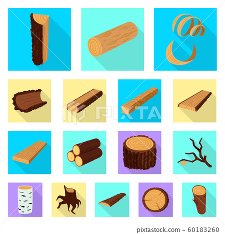 Isolated object of material and nature icon. Collection of material and raw stock vector illustration. 60183260