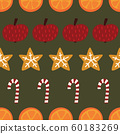 Candy canes, cookies, oranges, apples seamless Christmas background. Vector Winter spices repeating 60183269