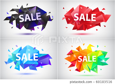 Vector set sale faceted 3d banners, posters. 60183516