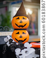 Happy Halloween Pumpkin on table and blurred 60183867