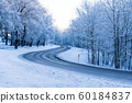 Snowy Land Road At Winter 60184837