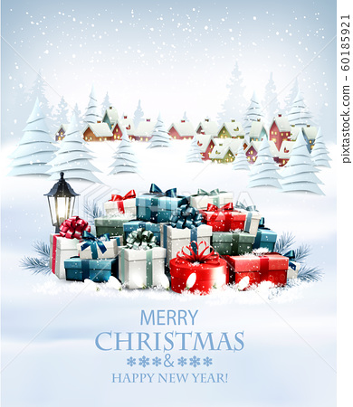 Merry Christmas and New Year holiday background 60185921