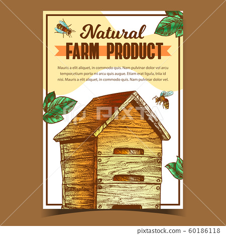 Bee And Wooden Beehive Farm Product Poster Vector 60186118