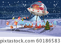 Merry Christmas Santa Claus flying in UFO spaceship flying saucer with gift boxes on little town winter night. Vector illustration isolated cartoon style 60186583