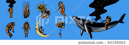 Set of astronauts in the solar system. Funny Spaceman and whale, taking off cosmonaut, planets in 60190063