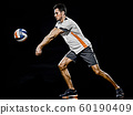 caucasian young volley ball player manisolated black background 60190409