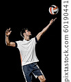 caucasian young volley ball player manisolated black background 60190441