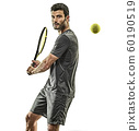 mature tennis player man backhand isolated white background 60190519