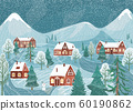 Winter landscape vector background. Nature night rustic scene with cute houses, fir tree, road, snowman, mountains. North outdoor snow village scenery 60190862