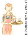 Troubled face cafe clerk woman 60190914