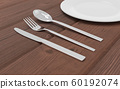 Fork, spoon, knife and plate isolated on wooden background 3d render illustration 60192074