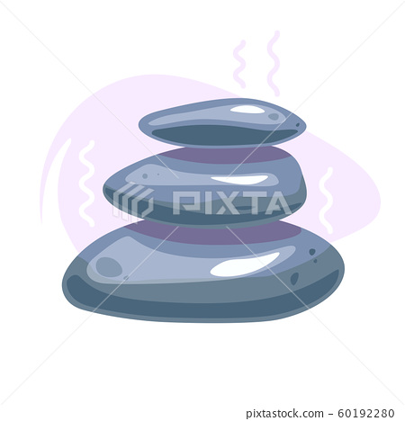 Spa stones flat icon design. Massage treatment, Wellness vector logo. Relax and meditation concept. Natural care template for beauty salon. Zen balance symbol. Stack of three grey rocks. 60192280