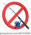 Fishing rod with forbidden symbol. No Fishing 60192865