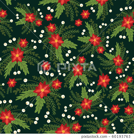Christmas flowers red Poinsettia seamless vector pattern. Flat Scandinavian style abstract florals 60193763