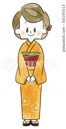 기모노 여성 - 전신 - 수채화 60195013