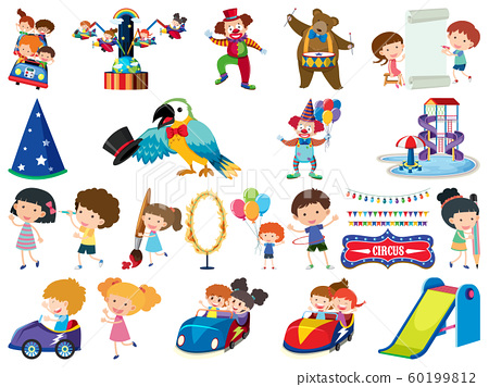 Large set of isolated objects of kids and circus 60199812