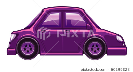 Single picture of purple car on white background 60199828