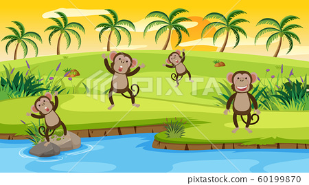 Background scene with monkeys by the river 60199870