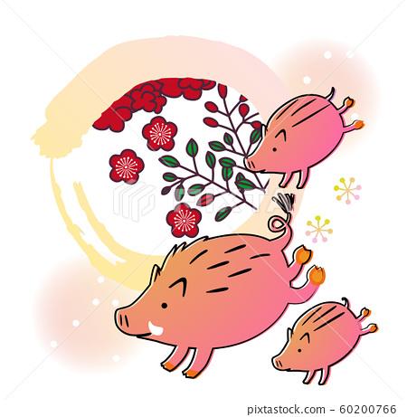 멧돼지의 친자가 화투 무늬 60200766