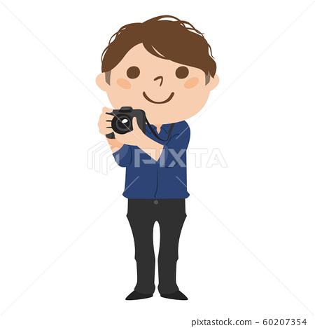 職業的插圖。男攝影師。一個男人帶著微笑拍照。 60207354