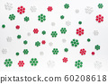 snowflakes pattern background. white , red and green snowflake isolated on white for Christmas or winter seasonal 60208618