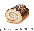 Sponge cake roll isolated on white background, swiss roll with vanilla cream 60208626