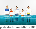 Group of children with blank white banners standing in water of melting glacier, global warming 60209101