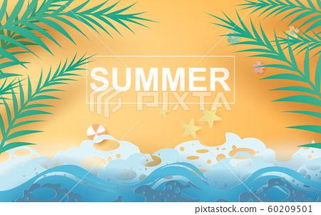 illustration of Beautiful summer beach poster 60209501