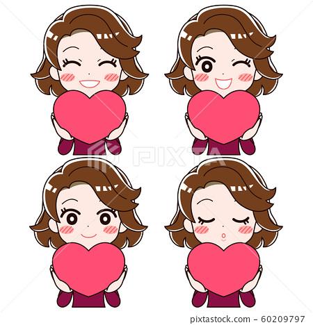 하트 모양을 가지고 행복 웃는 여자의 4 개의 표정 세트 60209797
