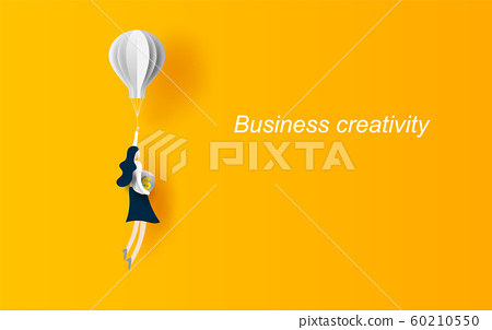 Business concept idea.Woman flying with balloon 60210550