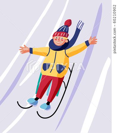 Winter sledding, fun flat vector illustration 60210902